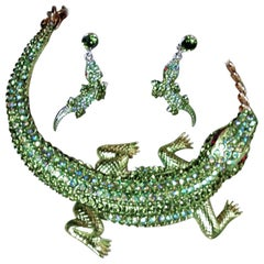 Rhinestone Alligator Necklace And Earrings Set