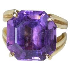 Gorgeous 6 Carat Amethyst 14 Karat Gold Ring