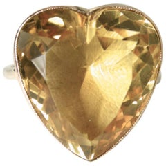 14 Karat Yellow Gold 15 Carat Citrine Heart Ring