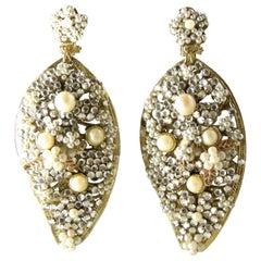 Vintage DeMario Faux Pearl Chandelier Earrings