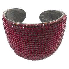 Dazzling Kenneth Jay Lane Red Rhinestone Cuff Bracelet