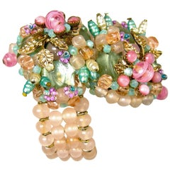 Vintage Rare Early Miriam Haskell Pink Pastel Glass Floral Wrap Bracelet