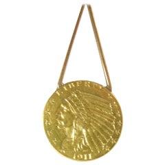 Antique 1911 22 Karat Gold Indian Head Penny Pendant Necklace