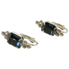 Kenneth Jay Lane Faux Sapphire and Rhinestone Earrings