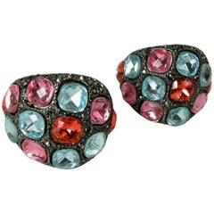 Kenneth Jay Lane Multi-Color Dome Earrings