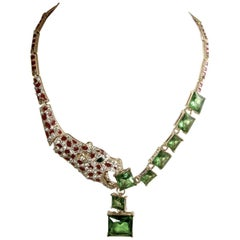 Unusual Leopard Necklace With Green Crystals Necklace