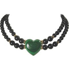 Vintage 14KT Black Onyx and Green Malachite Heart Necklace