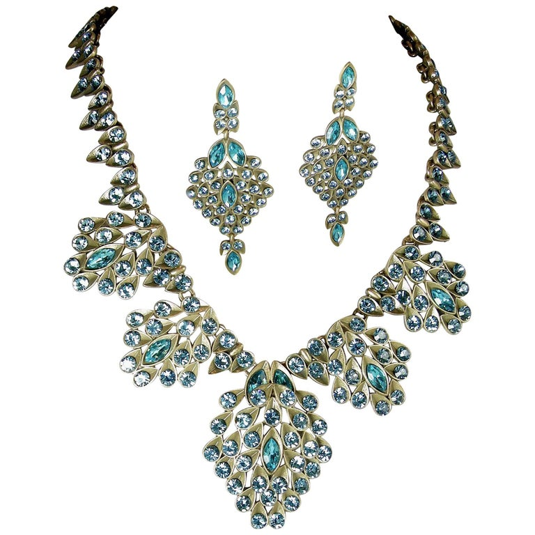 Vintage Oscar De La A Faux Pea Aquamarine Necklace Earring Set For