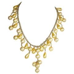 Vintage 1930s Faux Golden Pearl Bib Necklace