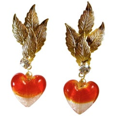 Robert Sorrell One-Of-A-Kind Red Heart Drop Earrings