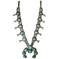Sterling Indian Pawn Turquoise Squash Vintage Necklace, 1930s