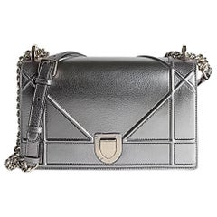 Dior Diorama Flap Bag Pewter Colour Leather Gold Hardware