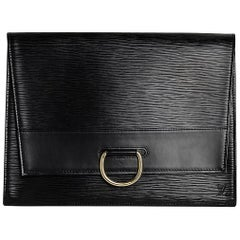 Louis Vuitton Black Epi Woman Clutch With Flap and Brass Lock