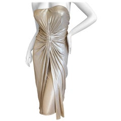 Christian Dior by John Galliano Vintage Gold Gathered Cocktail Dress
