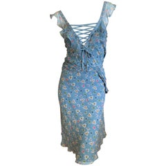 Christian Dior by John Galliano Silk Two Piece Ruffled Dress with Corset Lacing