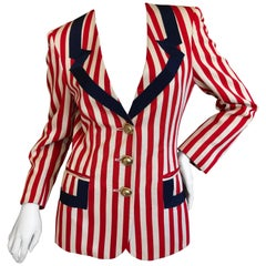 Moschino Vintage Cheap & Chic Red White and Blue Tromp l'oeil Grosgrain Jacket