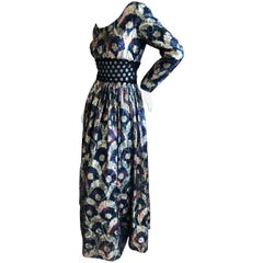 Jean Louis for I Magnin Sheer Gold Silk Brocade Evening Dress