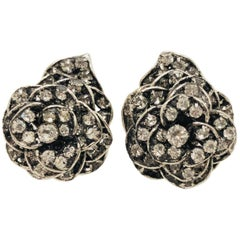Impressive Iradj Moini Crystal Encrusted Flower Clip on Earrings