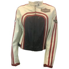 Feminin Touch White and Red Leather Moto Jacket