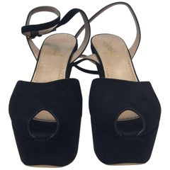 YSL Black Suede Wedge Heel