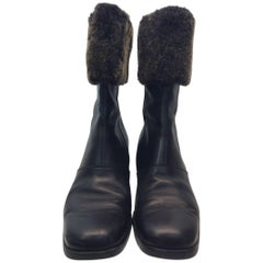 Salvatore Ferragamo Black Leather and Shearling Boot