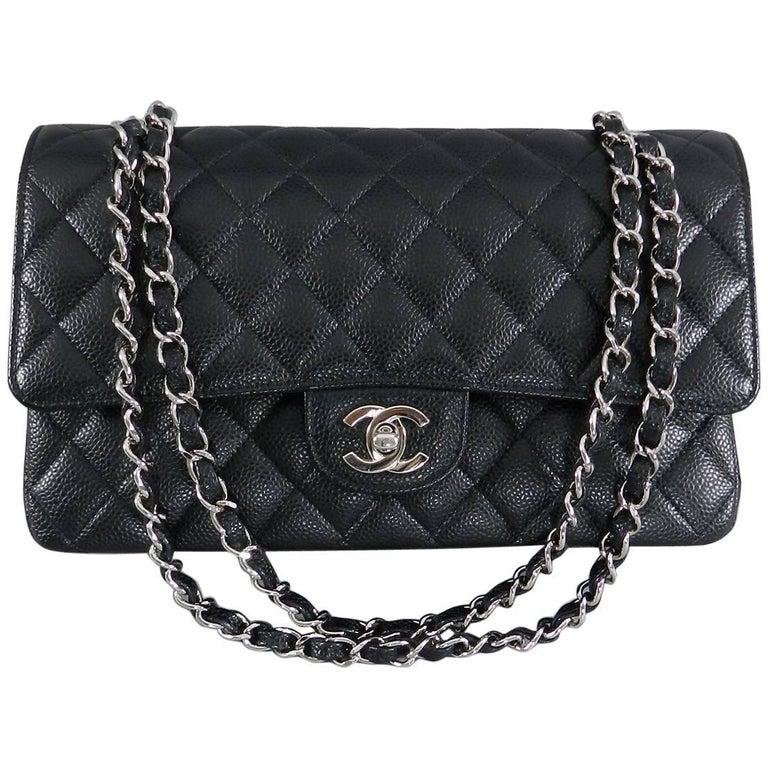 ceb66ce24b0fc5 CHANEL Classic Double Flap 2.55 Medium Black Caviar Silver Hardware Bag For  Sale