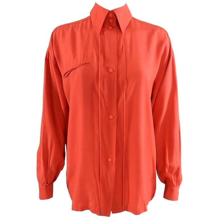 Claude Montana 1980's Orange Shirt with String Collar For Sale