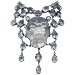 Sterling Silver and Clear Quartz Skull Bib Necklace