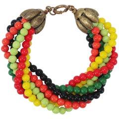 1950's Multi Strand Colorful Glass Bead Bracelet