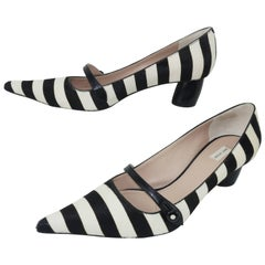 Marc Jacobs Pointy Toe Mary Jane Pony Striped Shoes