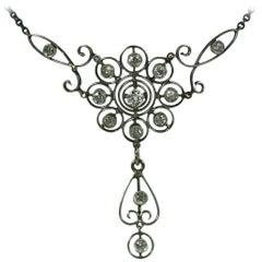 Edwardianische Anhänger-Halskette mit Diamanten