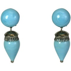 Louis Rousselet Faux Turquoise Drop Earrings