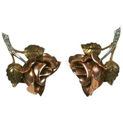 Cartier Tricolored Rose Earrings