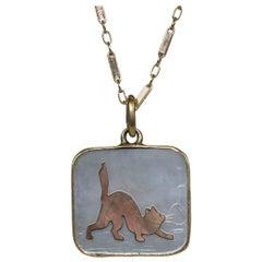 Art Deco Cat Charm Necklace