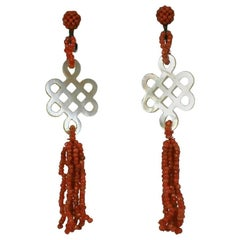 Art Deco Chinese Coral Earrings