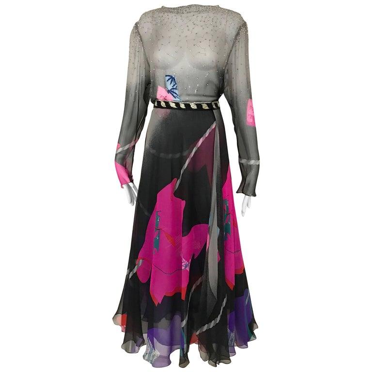 Vintage Hanae Mori Black and Pink Abstract Print Dress Skirt Ensemble
