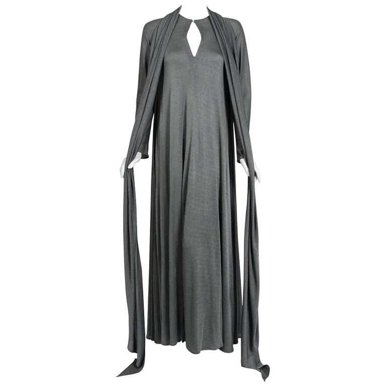 1990 Geoffrey Beene Charcoal Grey Silk-Jersey Draped Scarf High Slit Maxi Dress For Sale