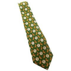 Chanel Men's Italian Silk Lion Theme Necktie c 1990s