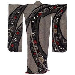 1940S Black Japanese Shibori Silk Geometric Floral Long Length Kimono