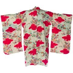 Hot Pink Japanese Floral Landscape Kimono