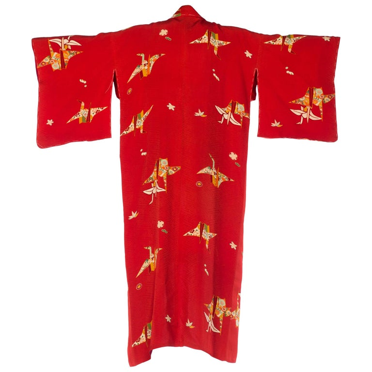 Red Floral Paper Crane Kimono