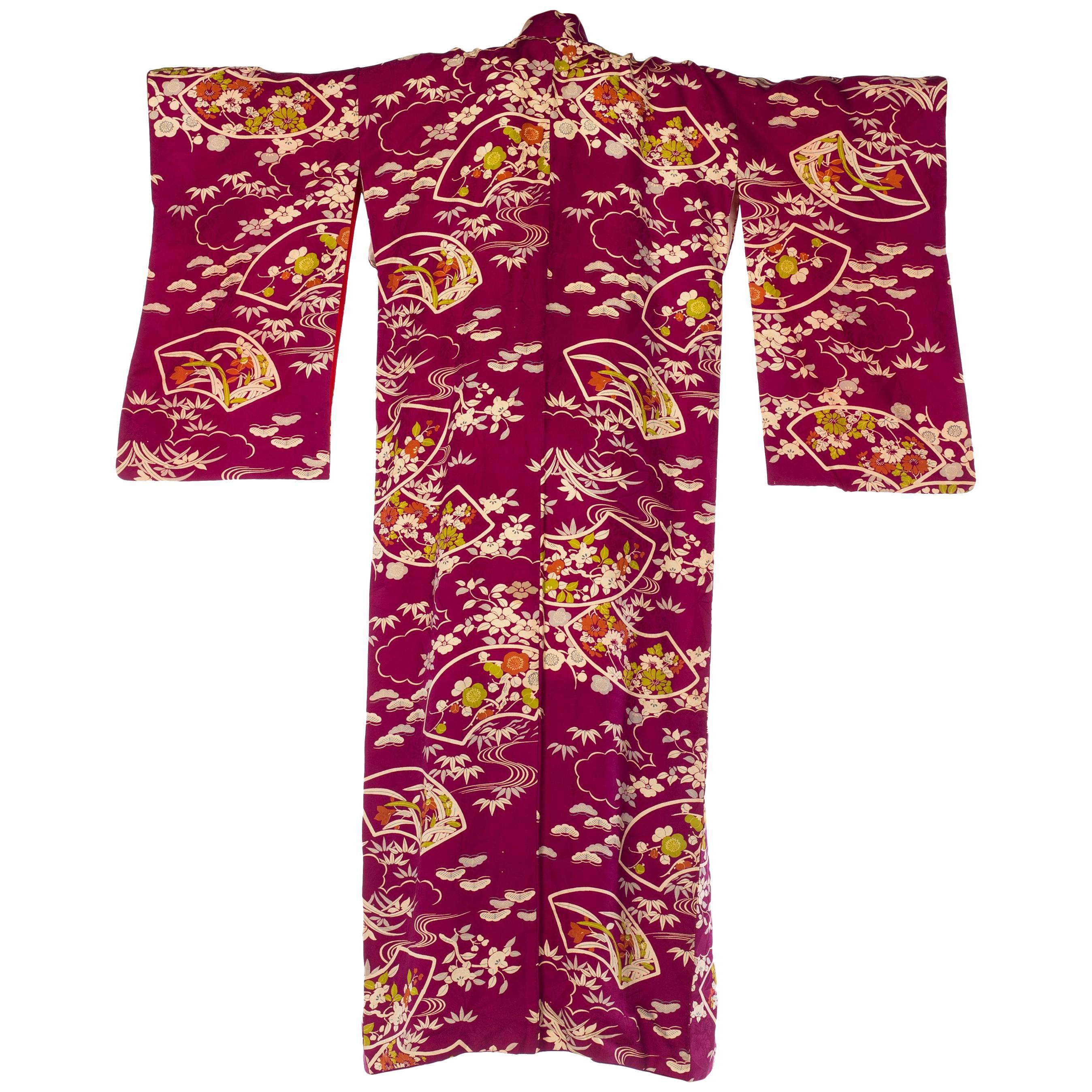 1950S Silk Deep Magenta Floral Bamboo Printed Kimono