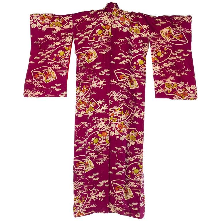 Deep Magenta Floral Bamboo Kimono