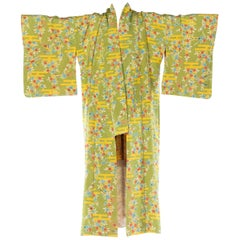 Mid-Century Vintage Japanese Kimono with Flowers and Birds