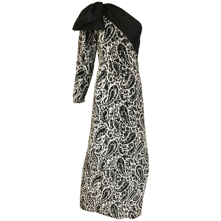 Vintage Lanvin Black and White Silk Velvet Paisley Print One Shoulder Bow Dress