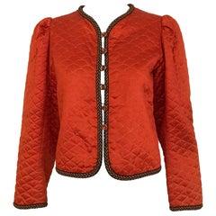 Vintage Saint Laurent Mandarin Orange Silk Jacket 1980s