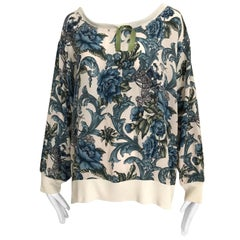 Salvatore Ferragamo Vintage Blue and Creme Floral Prints Silk Blouse, 1980s