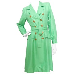 A 1960s Vintage Yves Saint Laurent Rive Gauche Bright Green Silk Trench Coat XS
