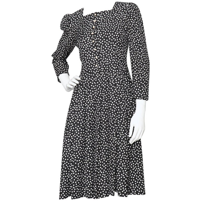 Hanae Mori Vintage Black Day Dress With White Heart Print, 1980s