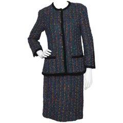 A Fabulous 1970s Vintage Chanel Bouclé Skirt Suit W. Logo Buttons S